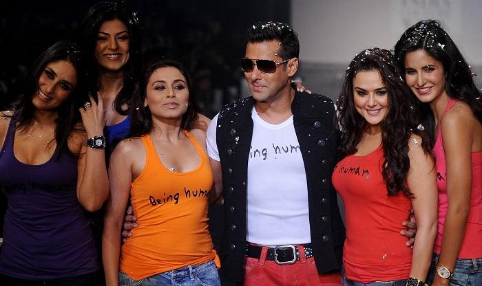 Photo Credit http://www.indicine.com/movies/bollywood/hot-pics-salman-khan-with-katrina-kareena-priyanka-preity/attachment/salman-khan-being-human-fashion-show-1/
